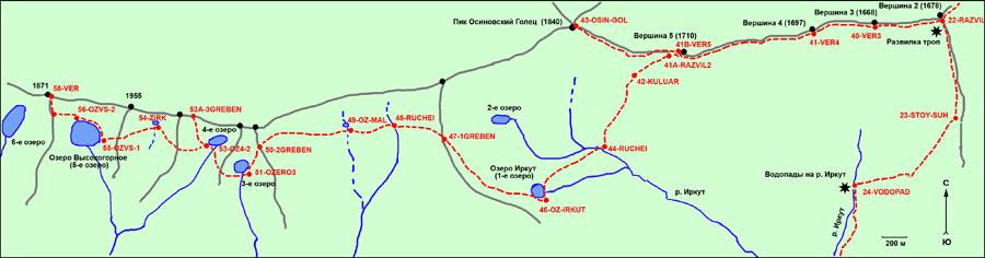Схема расположения озер и
