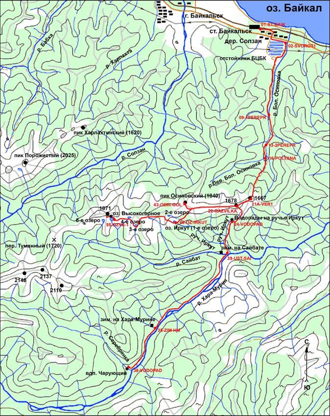 Схема маршрута на пик